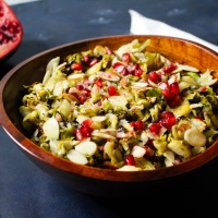 Roasted Brussel Sprout Salad w/ Lemon Pomegranate Dressing